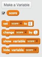 Scratch blocks for using variables.