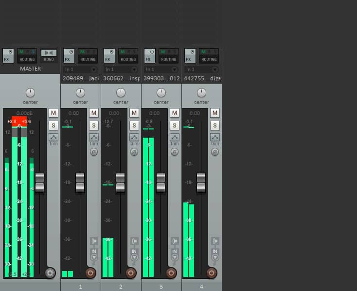 Mixer screen displaying audio levels for each track