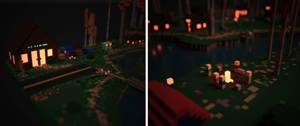 Rendered images of a voxel model, a store and campers sitting by a fire.