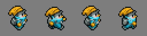 Four frames of a character sprite used to create a walk cycle