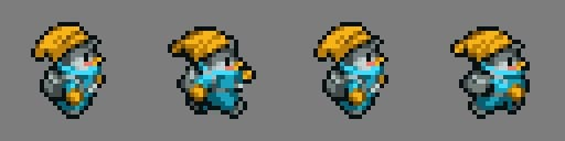 Updated four frames of the character sprite used to create a walk cycle with some adjustments to give animation more weight
