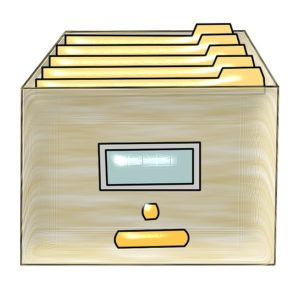 This image is a drawing of an archive box filled with manilla folders. Many terms, images and icons used on computer systems come from the non-digital world, including folders.
