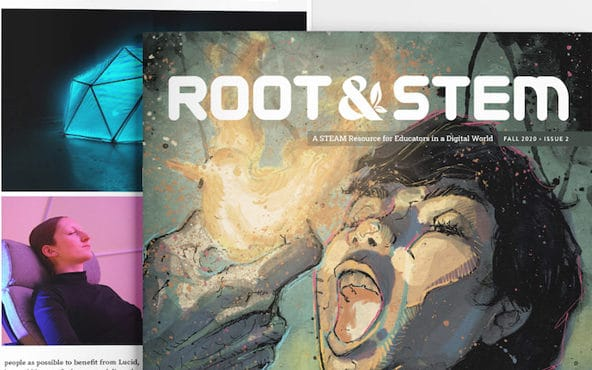 Root & Stem issue 2 with a feature within the magazine placed behind the cover.