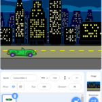 The top half of the scratch backdrop is a photo of a green car on a highway, with buildings illuminated in the background. The bottom half is buttons you click to change your backdrop and your scratch character.