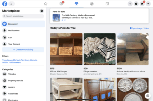 A facebook market place listing.