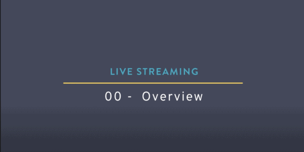 "A blue/purple hued background with the words ""Livestreaming"" on the the top, a yellow line int he middle and below the yellow line it reads ""00-Overview"""