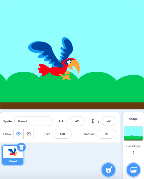 A bird flying around on the scratch stage area.
