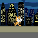 The scratch cat is walking along the backdrop that is a highway. The goal is to create a transition from that backdrop to a black backdrop.