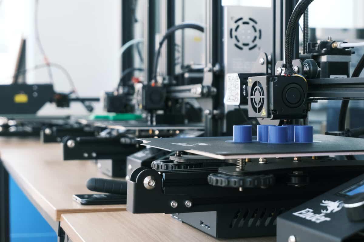 A close-up of a 3D printer.