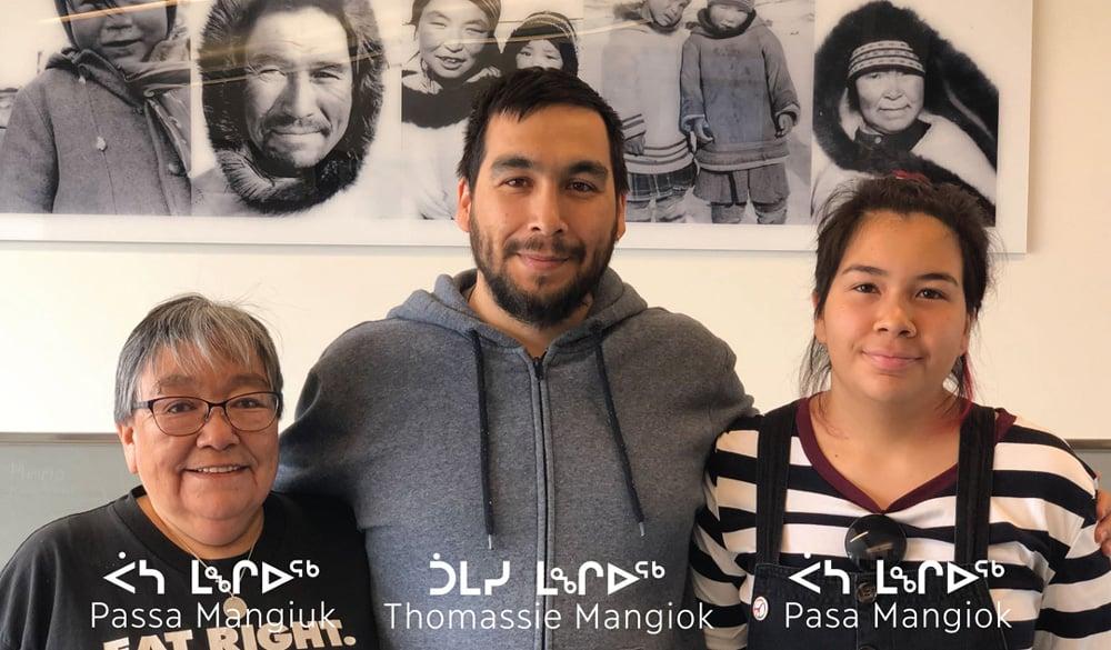 Thomassie Mangiok with his mother, Passa Mangiuk, and daughter, Pasa Mangiok.
