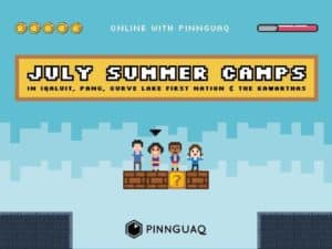 July summer camps is wrote in a banner along the top, with a blue background and 4 characters sitting on a block from Mario.