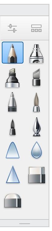 The pencil tool in Autodesk Sketchbook.